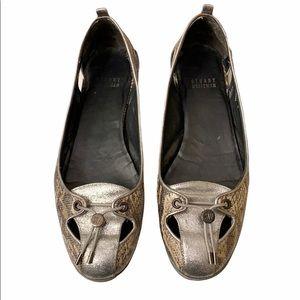 Stuart Weitzman Metallic Snakeskin Loafer Flats